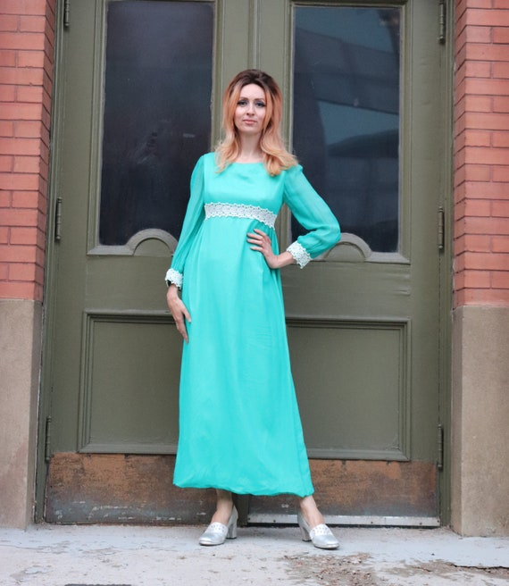 1960s Teal Empire Waist Dress | Small