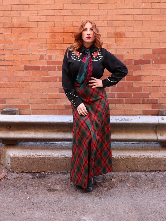 1970s plaid maxi skirt | Small - image 1