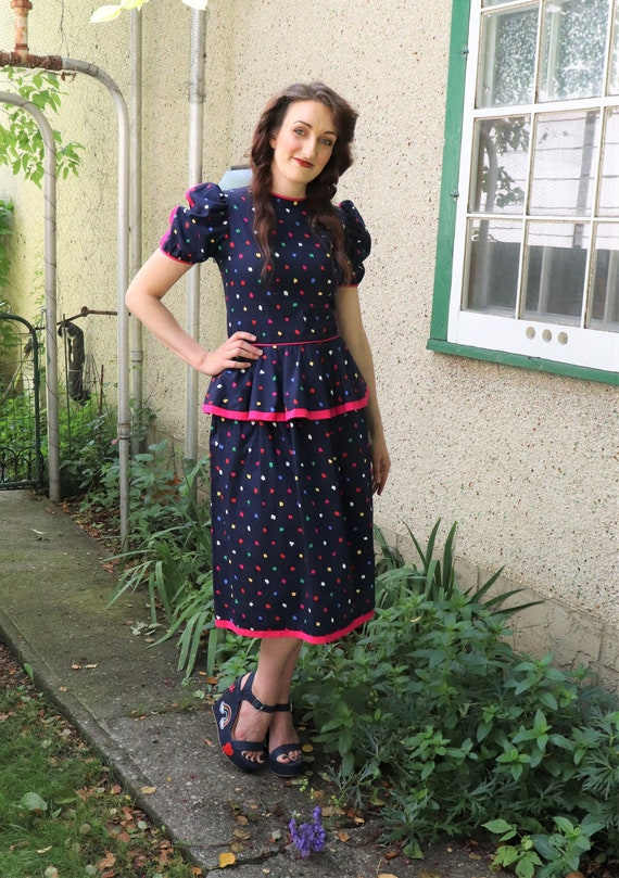1980s does 40s Peplum Dress | Small