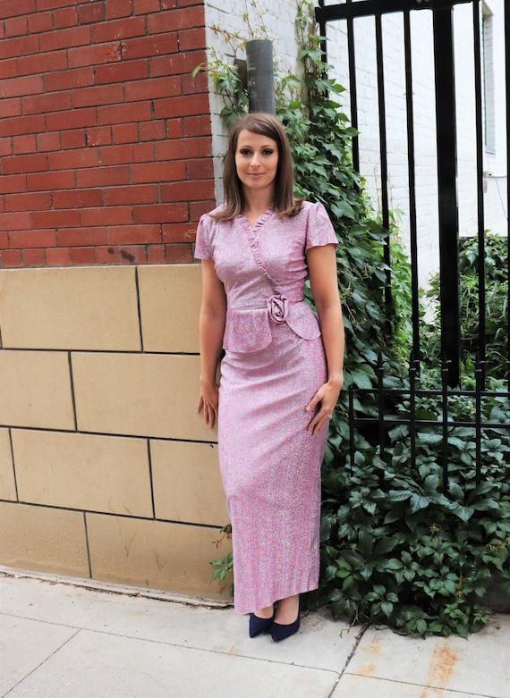 Vintage Lavender Lurex Dress | Small