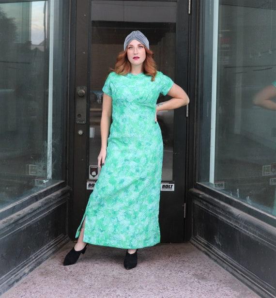Vintage Metallic Gown, Green Metallic | Med- Large