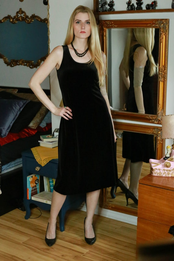 90s Black Velvet Dress, Black Velvet Jacket | S-M