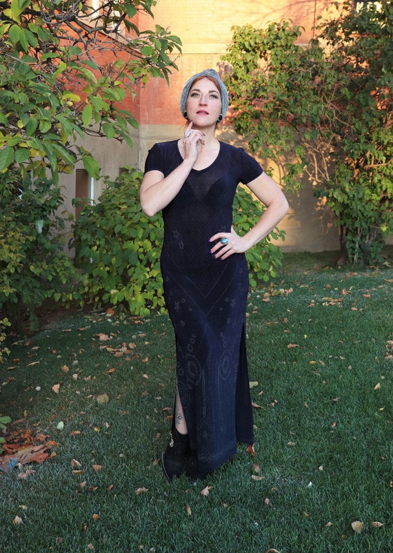 1990s Slinky Navy Evening Dress | Small - Large