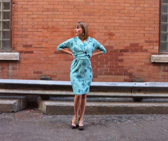 1960s Blue Barkcloth Abstract Wiggle Dress   Small