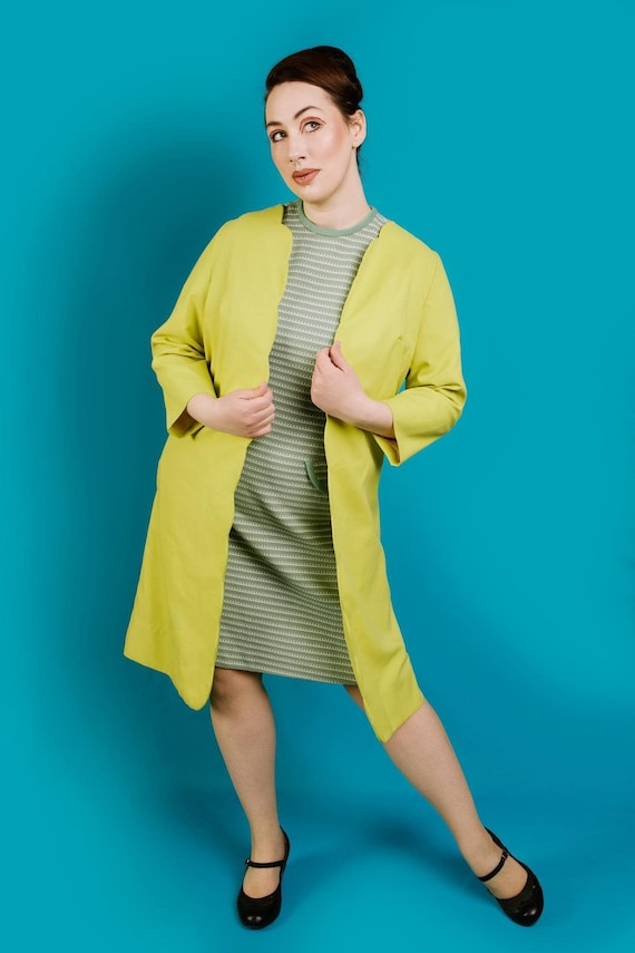 1960s Duster Coat Green Chartreuse Neon |  M-XL