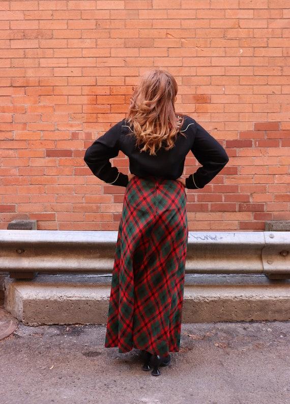 1970s plaid maxi skirt | Small - image 7