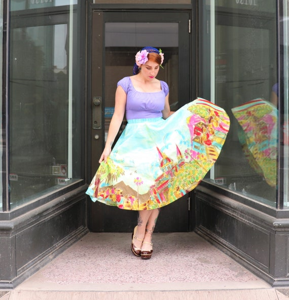 Hand painted Mexican Circle Skirt | Small