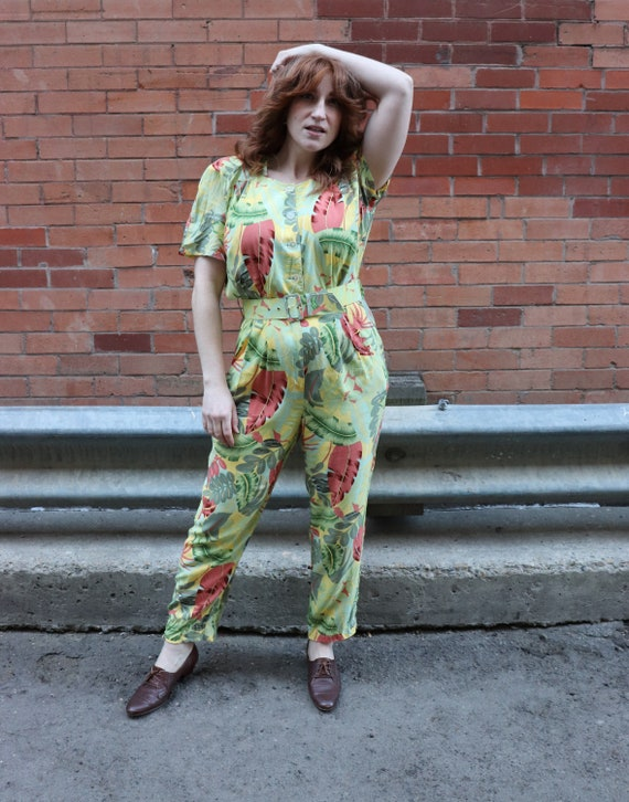 Vintage 80s Jumpsuit, Tropical Print, Yellow | Med