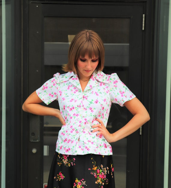 70s Floral Blouse, white & pink blouse, button up… - image 3