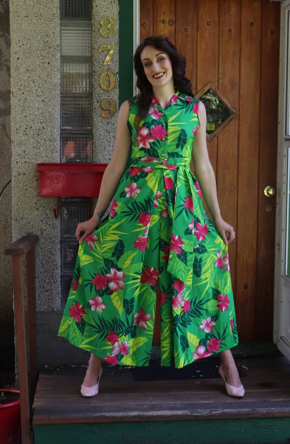 1970s Tropical Green Jumpsuit | Small