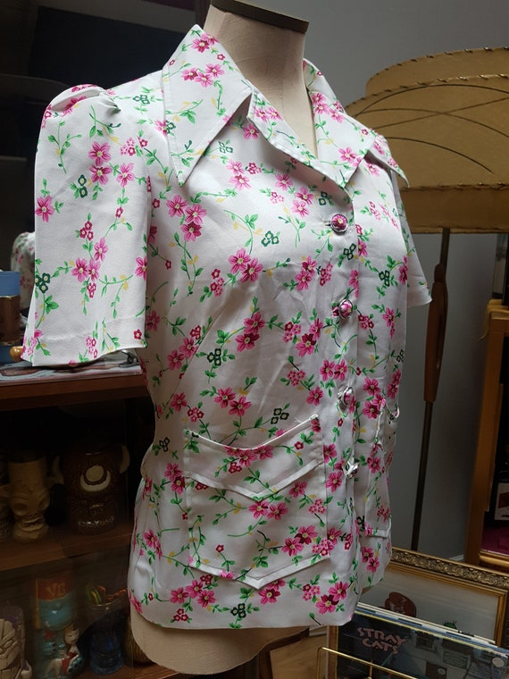 70s Floral Blouse, white & pink blouse, button up… - image 9