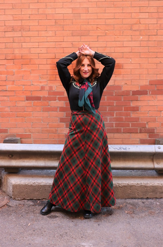 1970s plaid maxi skirt | Small - image 5