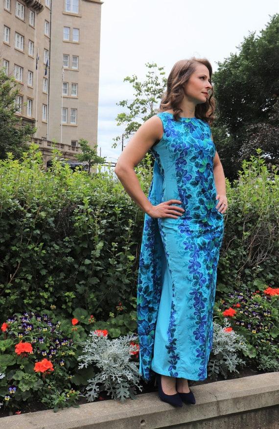 Vintage Blue Hawaii Maxi Dress   Small
