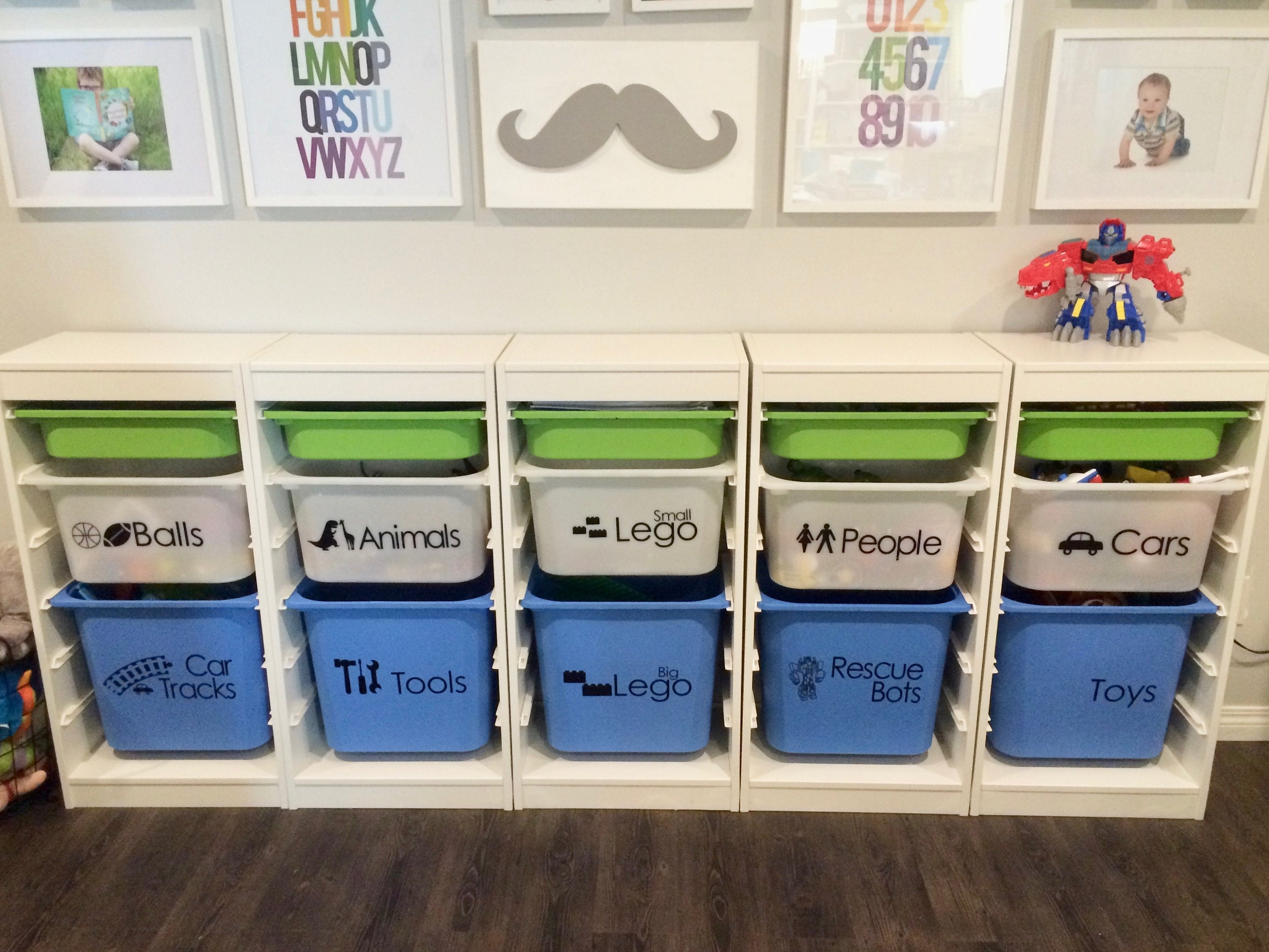 Playroom Vinyl Labels, Custom Play Storage Labels with Images, Trofast Ikea Bins for sale
