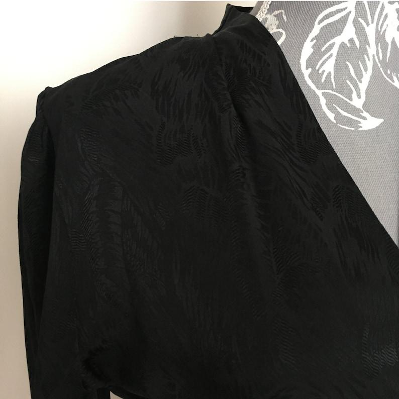 1980s Vintage Black Satin Blouse Size UK 1012