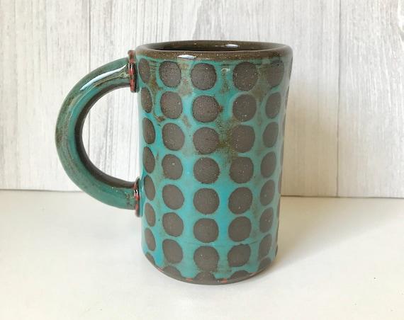 Mug/Coffee mug/Mug for tea/Soup mug/Handmade mug/Dotted mug/Ceramic mug/Wheel-thrown mug/Pottery mug/Hot chocolate mug/Mug with handle
