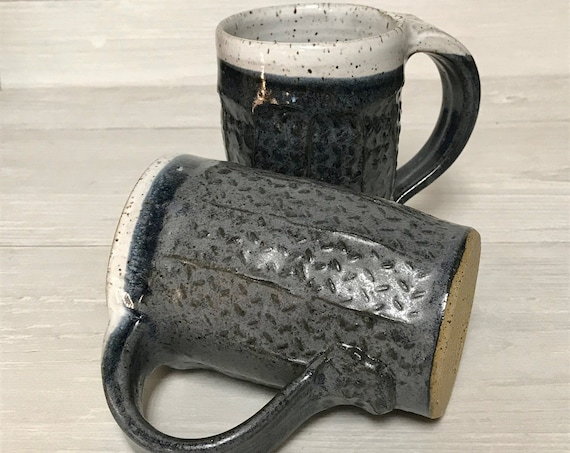 Handmade mug, pottery mug, ceramic mug, coffee mug, tea mug, 16oz mug, textured mug, soup mug, hot chocolate mug