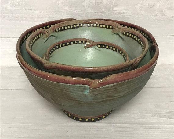 Nesting bowls/set of 3 bowls/space-saving bowls/wedding gift bowls/turquoise bowls/rustic bowls/bowl set/handmade bowls/ceramics bowls