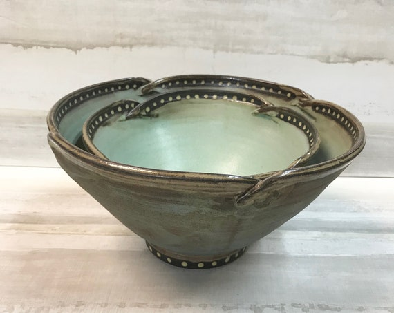 Ceramic bowls/Nesting bowls--2 piece/Large serving bowl/Side dish serving bowl