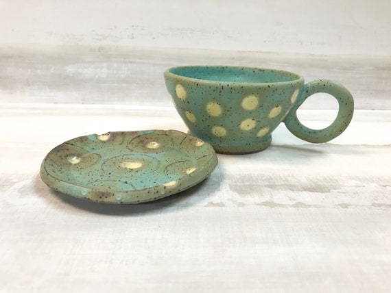 Cup and Saucer/Polka-dotted cup and saucer/Turquoise cup and saucer/Wallace and Gromit inspired/