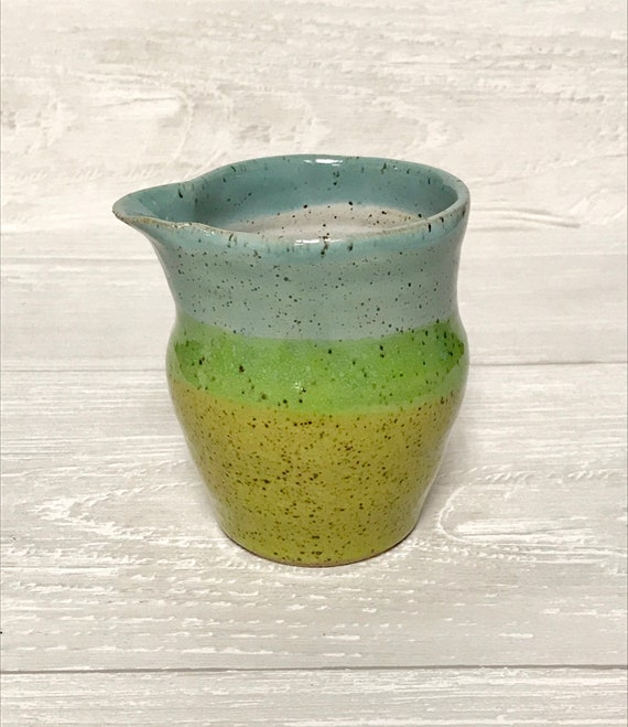 Ceramic creamer/handmade milk jug/small pitcher/speckled clay/Turquoise and green handmade milk jug/Small vase