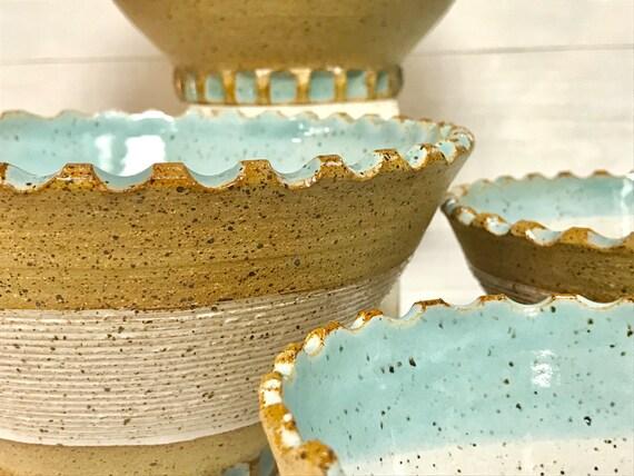 Ceramic bowls/Nesting bowls/Large serving bowls/Textured bowls/White bowls/Blue accent bowls/ Speckled clay bowls/Bowl set/Beach Bowls