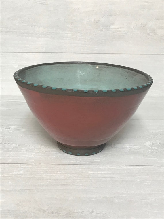 Red bowl/Serving bowl/Side dish bowl/Ceramics bowl/Handmade bowl
