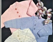 Nearly Free Baby Cardigan Knitting Pattern, Size 19 to 21 Inch Chest, Double Knitting Yarn or Wool, Instant Download pdf, Three Cardigans