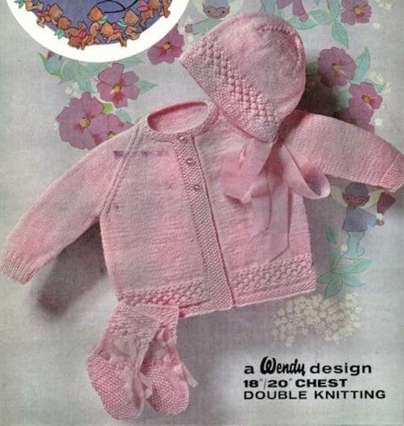 14 to 20 Inch Chest. Shoes Headbands Knitting Pattern Baby Jackets//Cardigans
