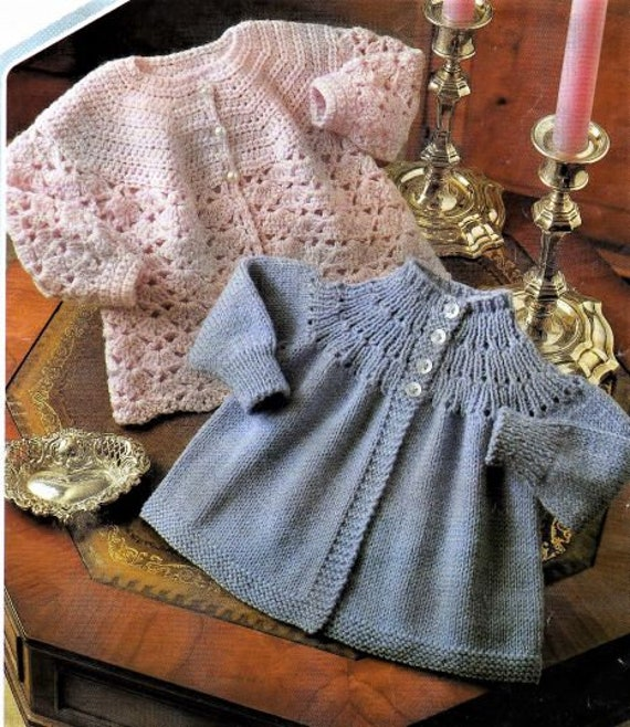 Baby girls MATINEE COAT BONNET booties KNITTING PATTERN  4ply  3-12 m 18-20in