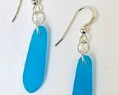 Dark Aqua sea glass earrings. tumbled beach glass. Petal. Tumbled glass. Beach wear. Ocean lover. Eco friendly. Sustainable. Fun. Beach