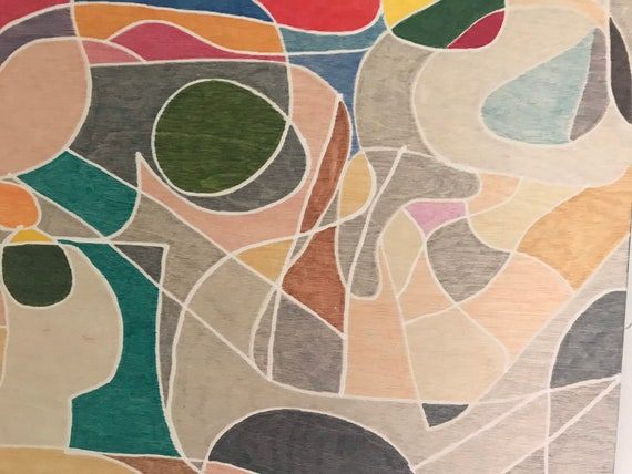 Original Art, Colorful Art, Abstract Art, Wall Art, Modern Art Blue Gray Green, Abstract Painting, Mid Century Modern