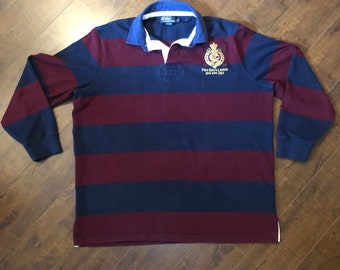 5bc8765614531 Rare Vintage RALPH LAUREN POLO 1967 Rugby Shirt Stripped Red   Blue Size  X-Large