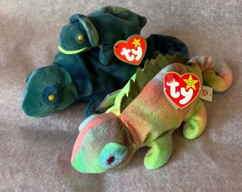 Iggy + Rainbow RARE + RETIRED Beanie Babies with tag errors 3619198777fa