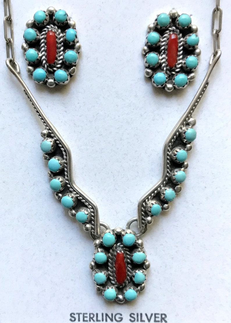 Handmade and signed 1990s Native American petit point turquoise and coral necklace earrings set by Navajo silversmith Bernard Barton