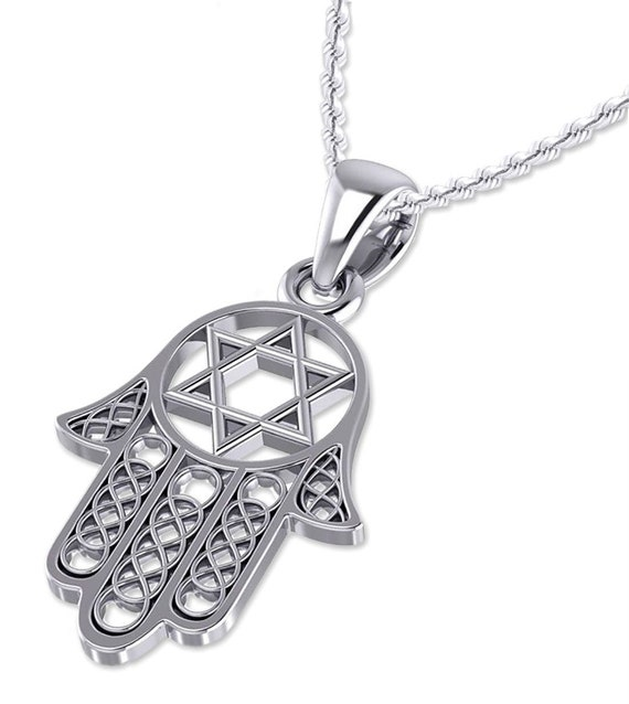 New 0.925 Sterling Silver Star of David Jewish Pendant Charm Necklace