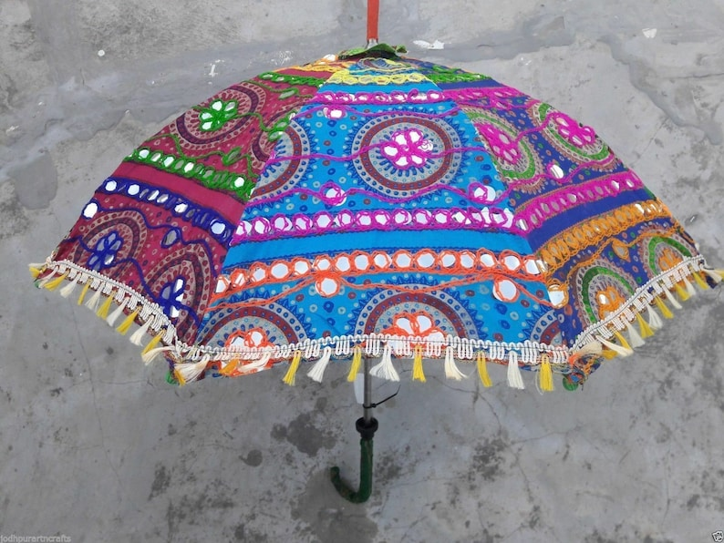 Ethnic Embroidered Umbrella Parasols Lot Patch work Colorful Wholesale 30 PC Lot Indian Traditional Designer Vintage Handmade