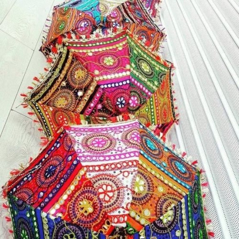 20 Piece Lot Indian Wedding Decor Lot Umbrella Decoration Handmade embroidery Elephant Umbrella Decorations Mirror Work Vintage Parasols