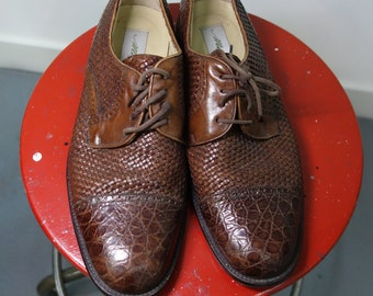c76a1b1032b Vero Cuoio Mezlan cognac brown-leather woven lace-up Oxford s with capped  toe by vero cuoio.