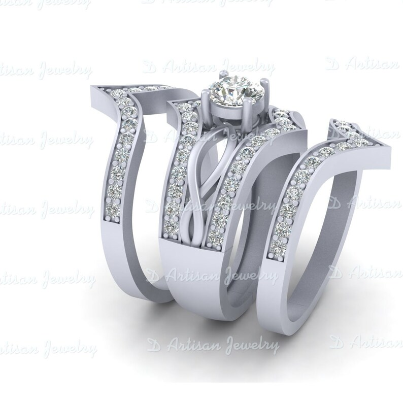 Diamond Eternity Band Bridal Wedding Sets Diamond Promise Rings Free Shipping 3Pc Unique Diamond Engagement Ring Matching Wedding Bands