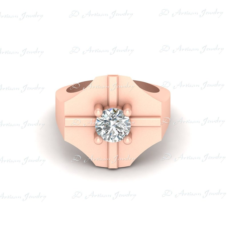 Mens Jewelry Solitaire Diamond Engagement Ring 1.10ct Diamond Anniversary Ring Gift For Him Wedding Ring For Men 925 Silver Or Rose Gold