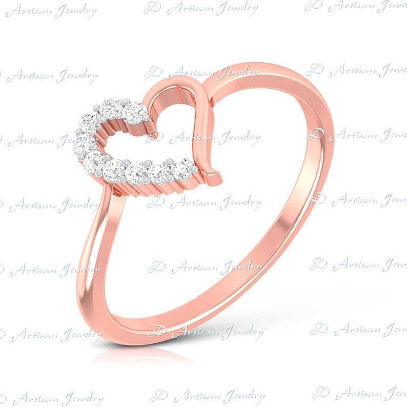 Heart Ring Sterling Silver 925 Rhodium and Rose Gold Plated Jewelry Selectable