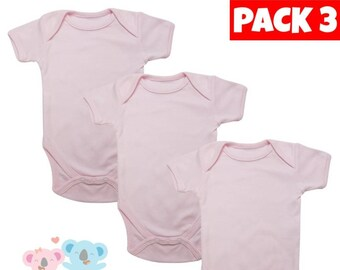 c57997a4870c Blank baby bodysuit plain pink 100% cotton short sleeve best for  personalize custom handmade onesie jumpsuit romper pyjamas sleepsuit