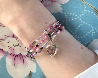 Pink Rhodonite and Glass Seed Bead Memory Wire Wrapped Layered Bracelet With Silver Plated Heart Charm