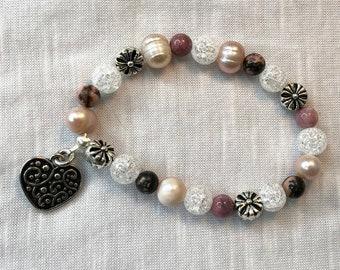 Heart Charm Beaded Bracelet Pink Pearls, Rhodonite, Crystal and Silver Plated Flower Beads - Elastic Adjustable