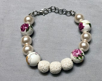 Aromatherapy Faux Pearl,  Rose Print, And White Lava Bead Bracelet With Silver Clasp, Adjustable Essential Oil Diffuser