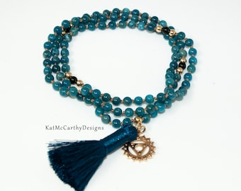 Blue Apatite Mini Mala Necklace With Gold and Onxy, 4mm Apatite Gemstones With Blue Silk Tassel and Gold Throat Chakra Pendant