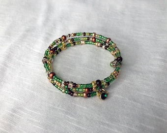 Glass Seed Bead Memory Bracelet, Earthy Mix Of Green, Gold, Copper And Brown with Charms On Ends. Adjustable Size