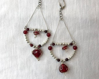 Long Silver Dangle Earrings Red Wire Wrapped Beads With Silver Plated Beads