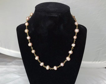 Freshwater Pearl Gold Chain Choker - Light Pink Pearls, Adjustable, Easy Hook Clasp